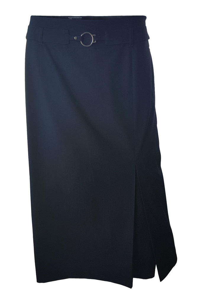 BASLER Navy Blue Calf Length Skirt (L)-Basler-The Freperie
