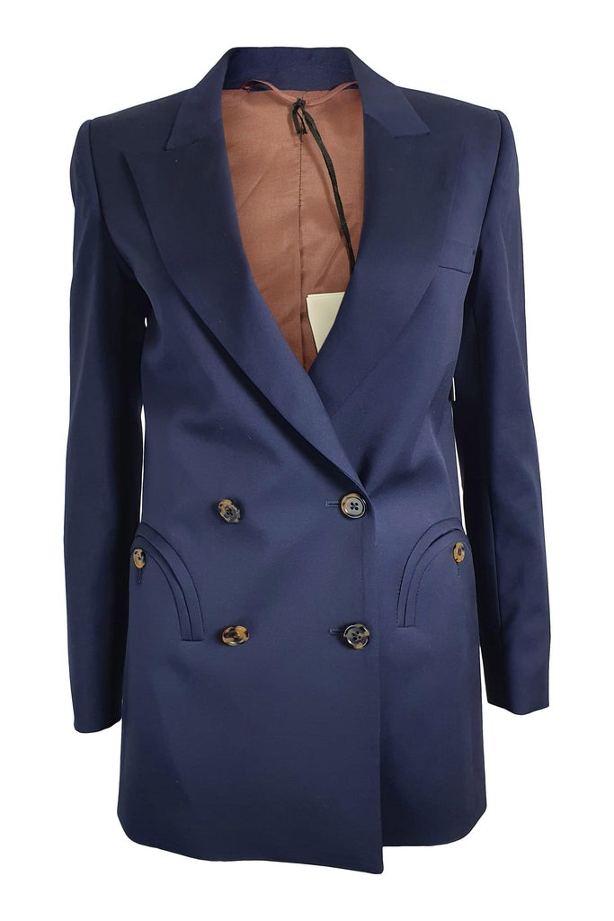 BLAZE MILANO Navy Blue Voyage Double-Breasted Blazer (0)-Blaze Milano-The Freperie
