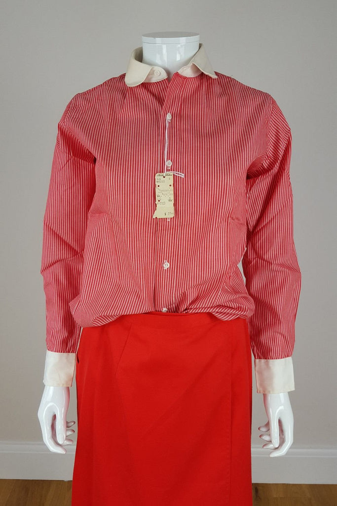 BROOK BROTHERS Red Cotton Pinstripe Shirt (UK 8)-Brook Borthers-The Freperie