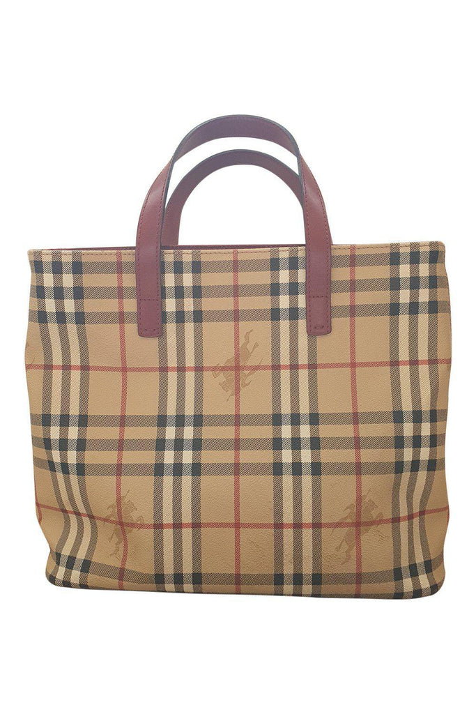 BURBERRY Haymarket Check Coated Canvas Tote Bag (M)-Burberry-The Freperie