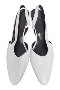BY FAR White Lauren Almond Toe Sling Back Kitten Heels (EU 39 | UK 06 | US 09)-The Freperie