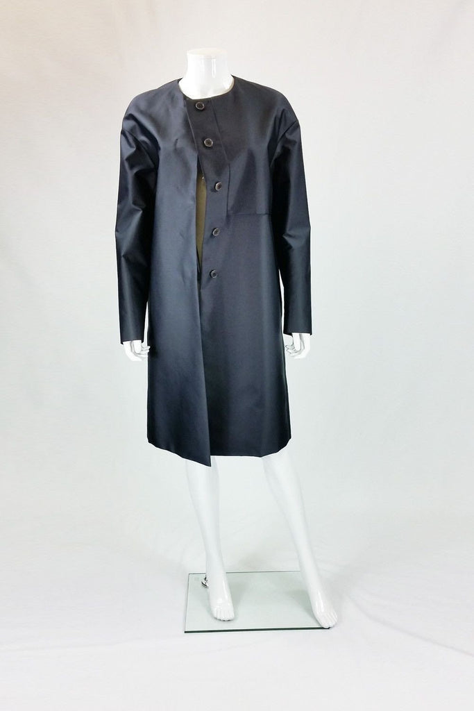 CALVIN KLEIN COLLECTION Navy Blue Satin Trench (UK 12)-Calvin Klein-The Freperie