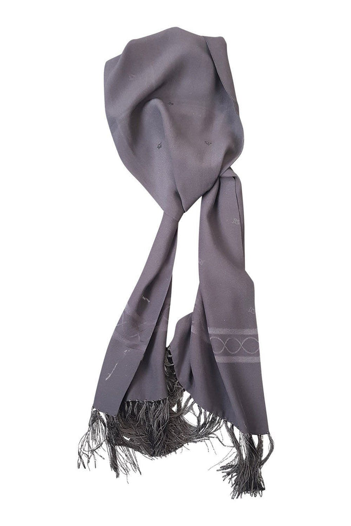 CHRISTIAN DIOR Black Silk Tassel Scarf-Christian Dior-The Freperie