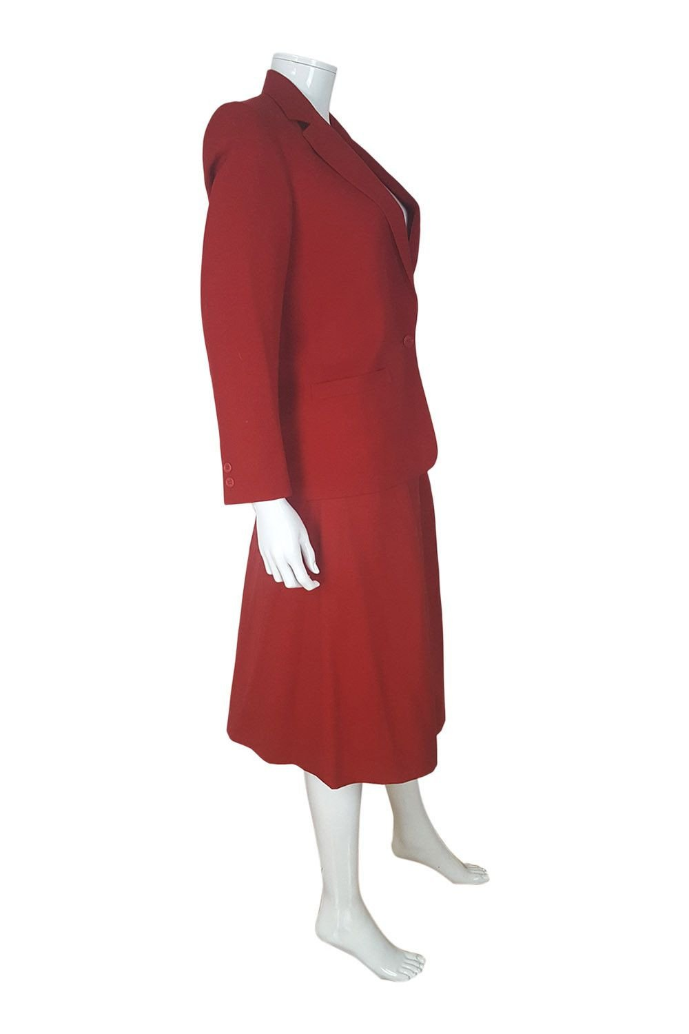 CHRISTIAN DIOR Vintage Red Wool Two Piece Skirt Suit-Christian Dior-The Freperie
