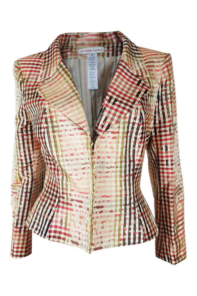 CHRISTIAN LACROIX VINTAGE Pink Cream Silk Printed Jacket (44)-Christian Lacroix-The Freperie