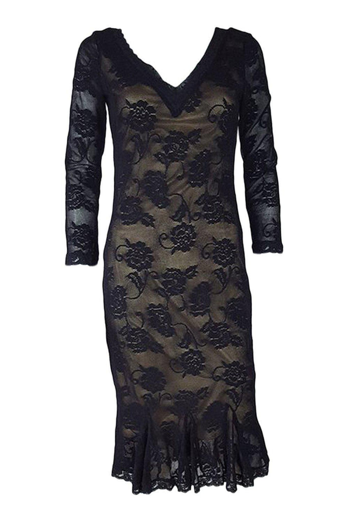 DOLCE & GABBANA Lace Body Con Pencil Dress (42)-Dolce & Gabbana-The Freperie
