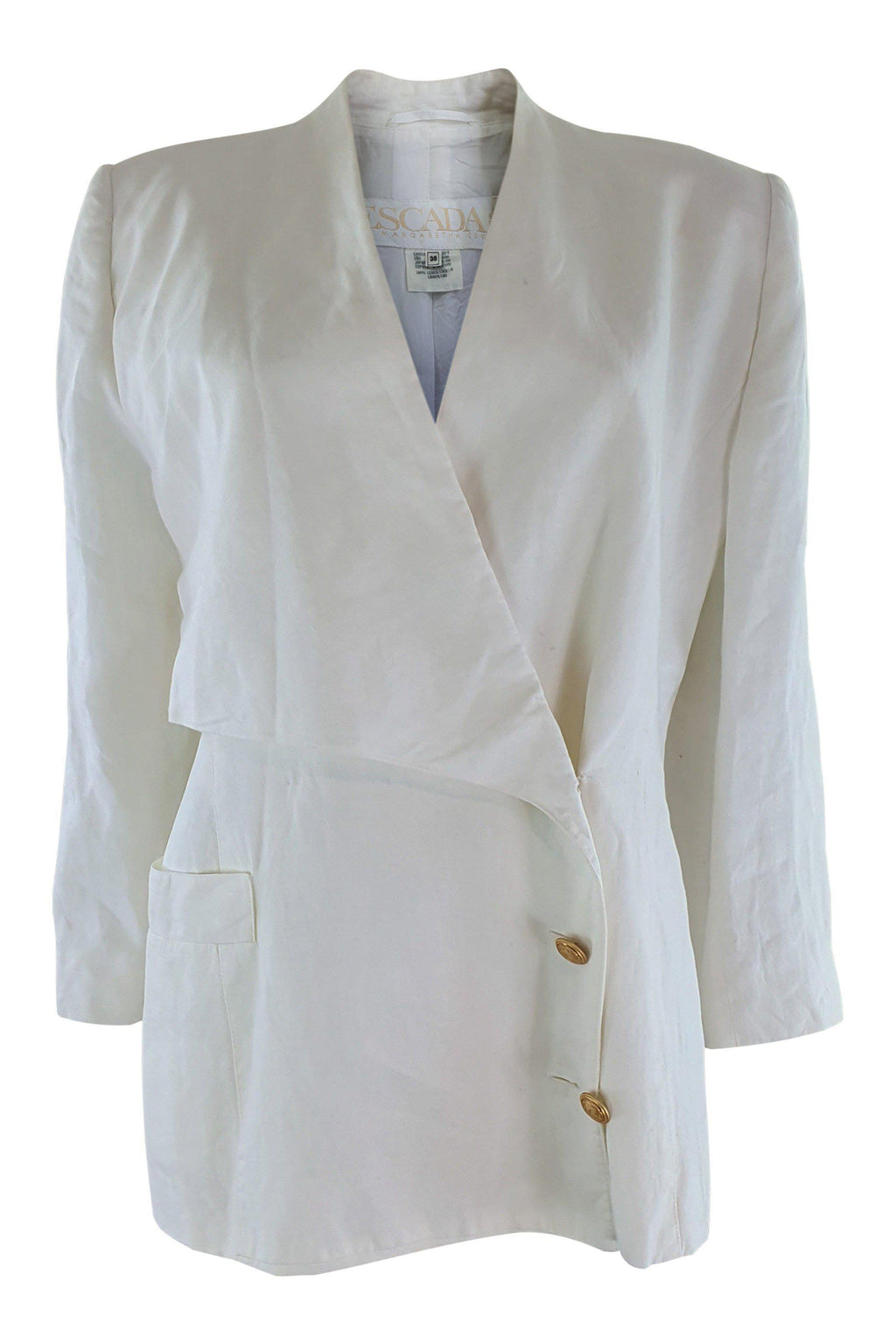 ESCADA Vintage 100% Linen Off White Double Breasted Jacket (DE 38)-The Freperie