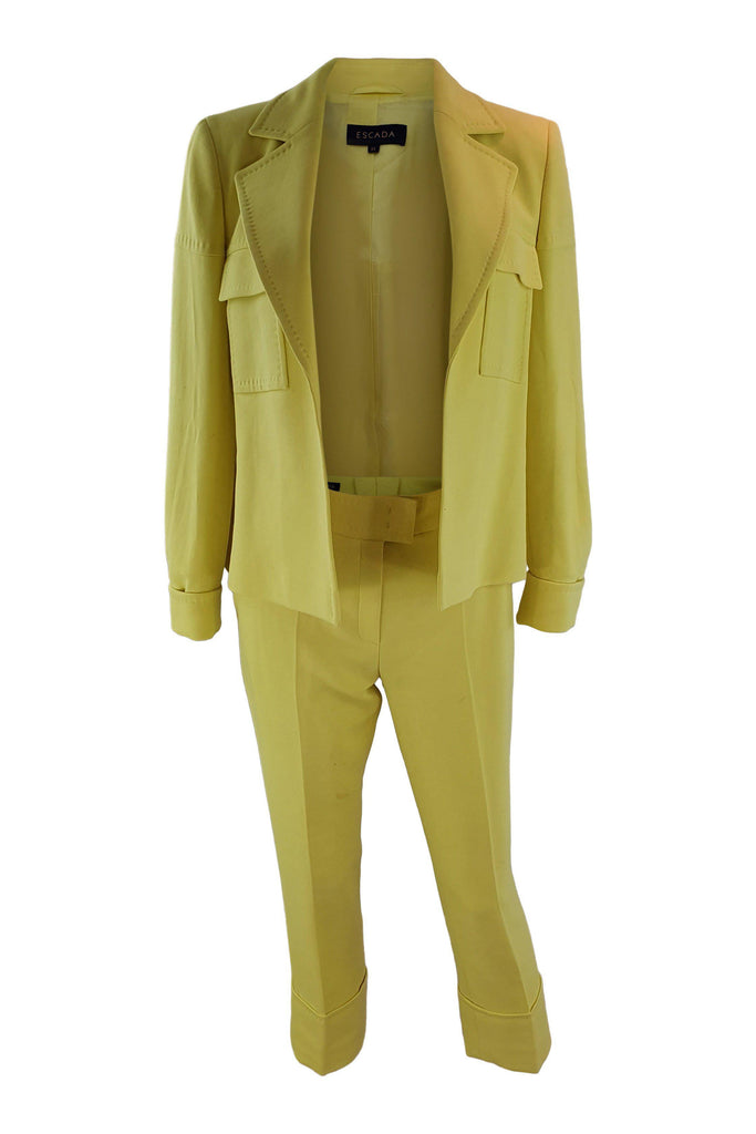 ESCADA Yellow Cotton Silk Blend Trouser Suit (34)-Escada-The Freperie