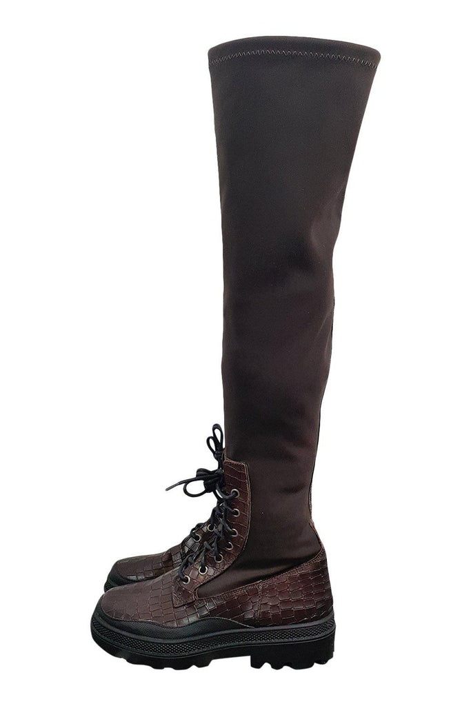 FREE PEOPLE Brown Stretch Over Knee Boots Snake Accents (EU 37 | US 7 | UK 4)-Free People-The Freperie