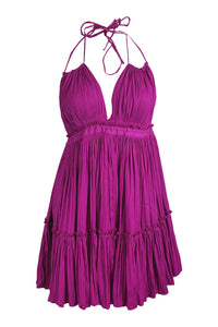 FREE PEOPLE Fuchsia Pink Pleated Backless Strappy Mini Dress (M)-Free People-The Freperie