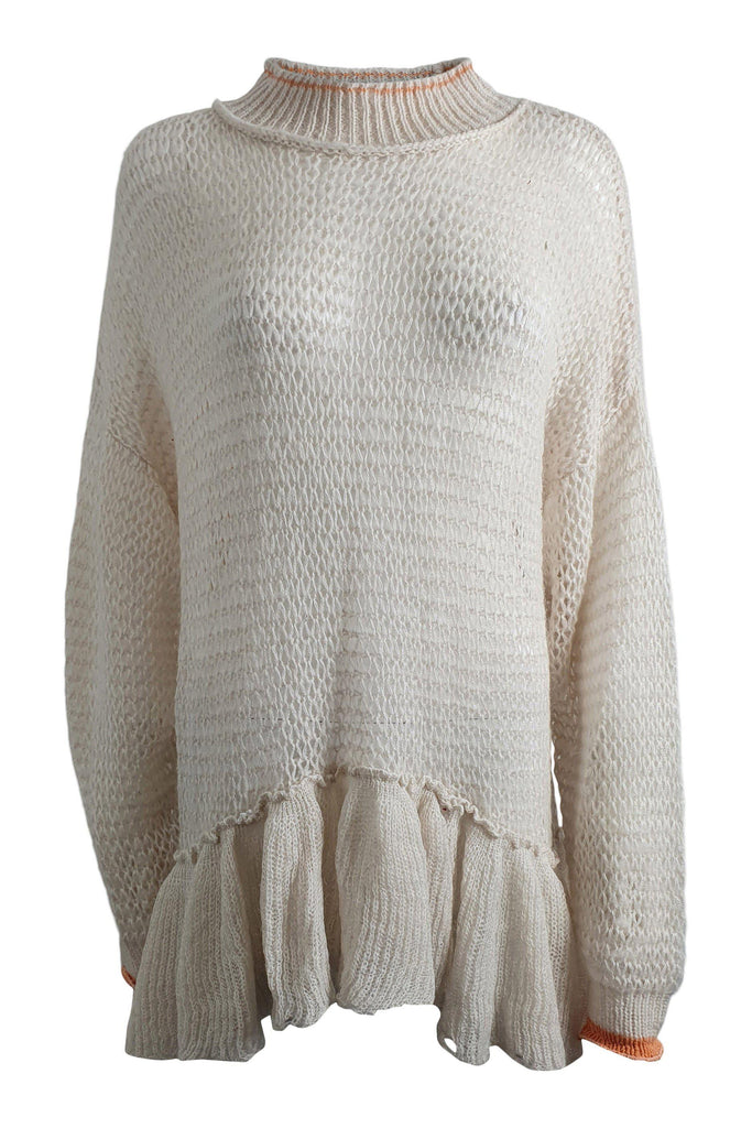 FREE PEOPLE Ivory Polo Neck Long Sleeve Peplum Hem Wool Blend Jumper (M)-Free People-The Freperie