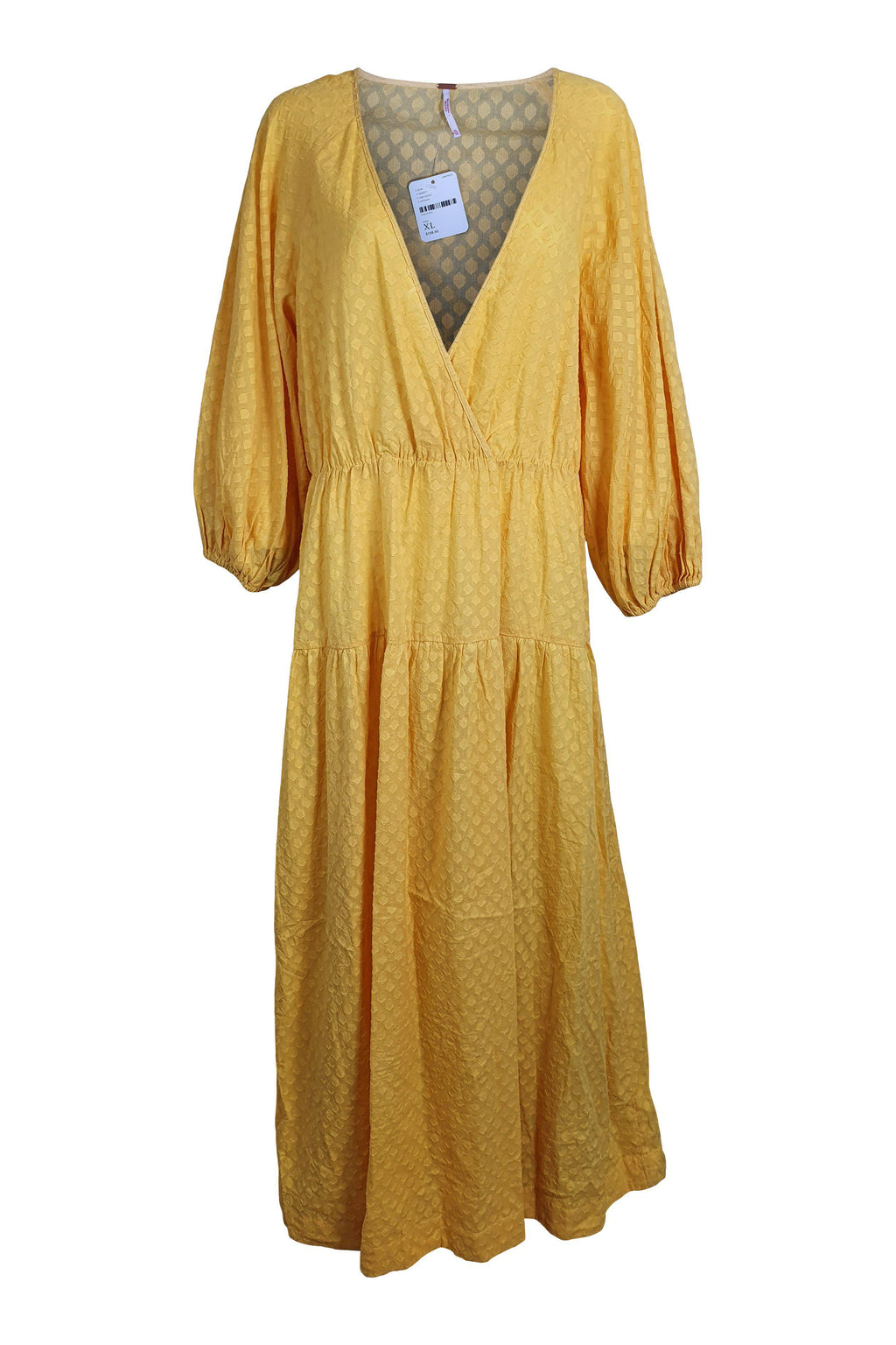 FREE PEOPLE Yellow Cotton Dot Maxi Dress (XL)-The Freperie