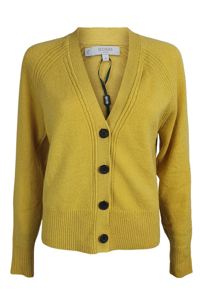 HOBBS Corn Yellow Chloe Cardigan (S | UK 10)-The Freperie