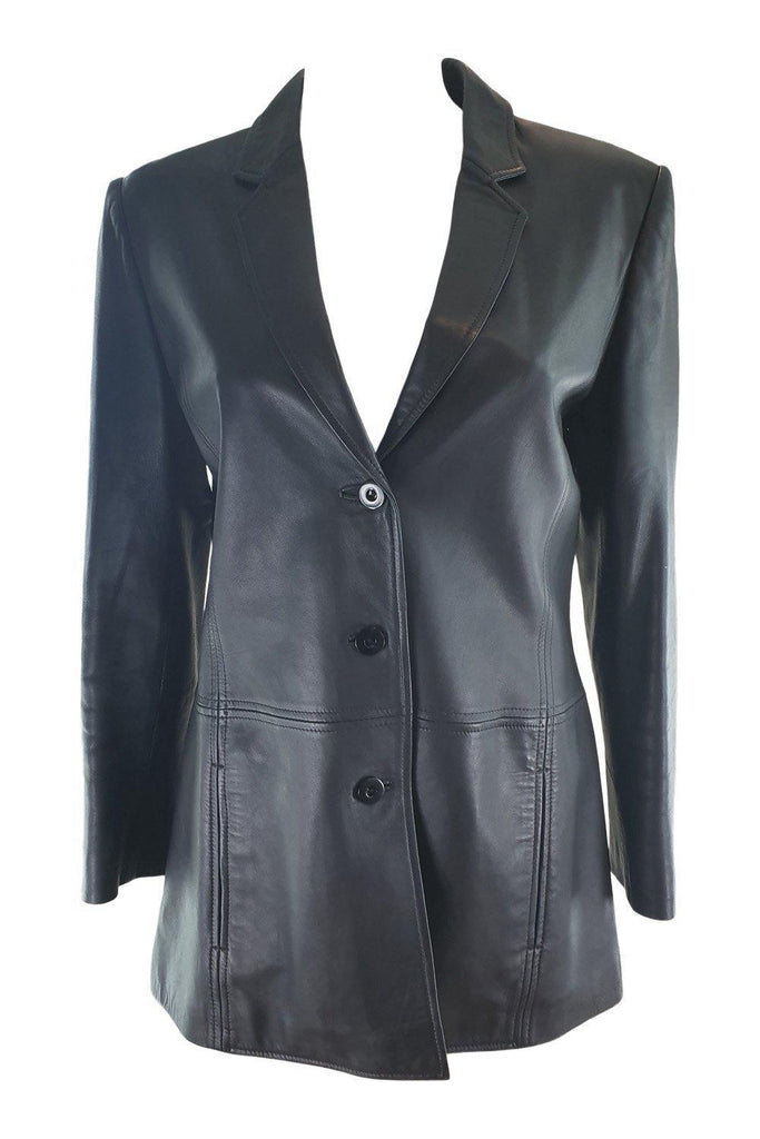 JAEGER Black Leather Button Front Blazer (UK 10)-Jaeger-The Freperie