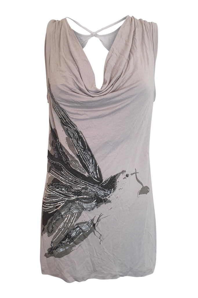 JASPER CONRAN Grey Sleeveless Embellished Top (UK 16)-Jasper Conran-The Freperie