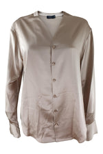 Load image into Gallery viewer, JOSEPH Rand Silk Satin Long Sleeve Blouse Gold (FR 44)-Joseph-The Freperie