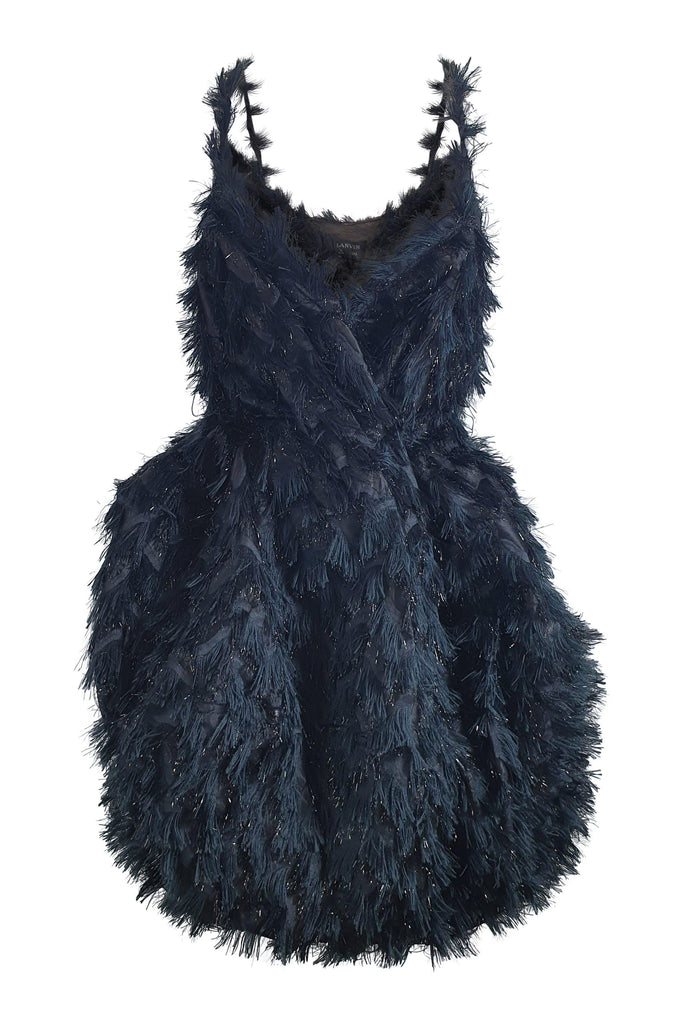 LANVIN Black Feathered Winter 2014 Silk Mix Cocktail Dress (T 38)-LANVIN-The Freperie