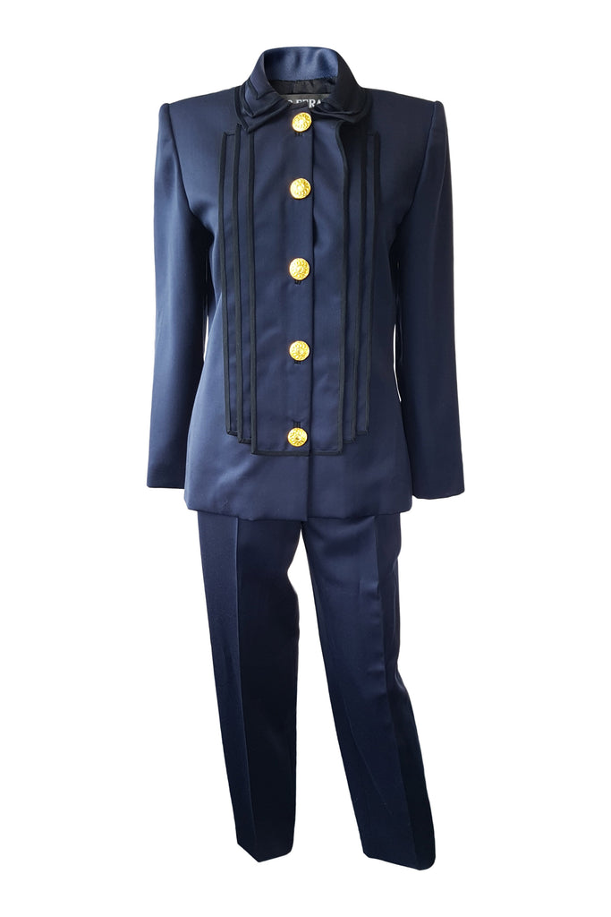 LOUIS FERAUD Vintage Navy Blue Tuxedo Suit (S)-Louis Feraud-The Freperie