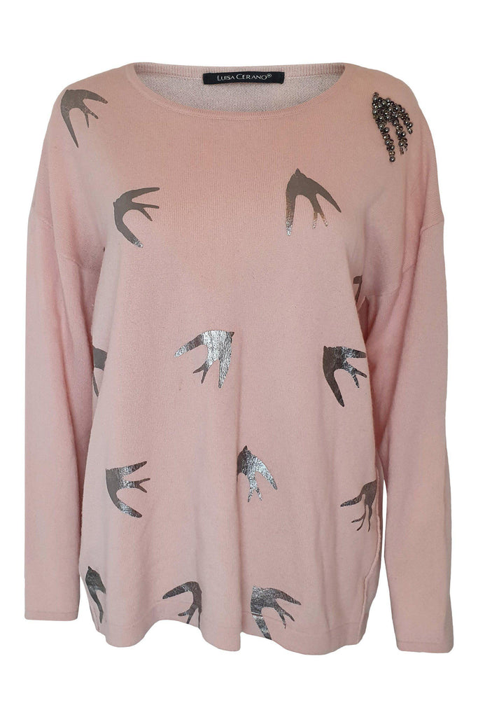 LUISA CERANO Baby Pink Virgin Wool Silk Cashmere Blend Swallow Intarsia Jumper (UK 14)-Luisa Cerano-The Freperie