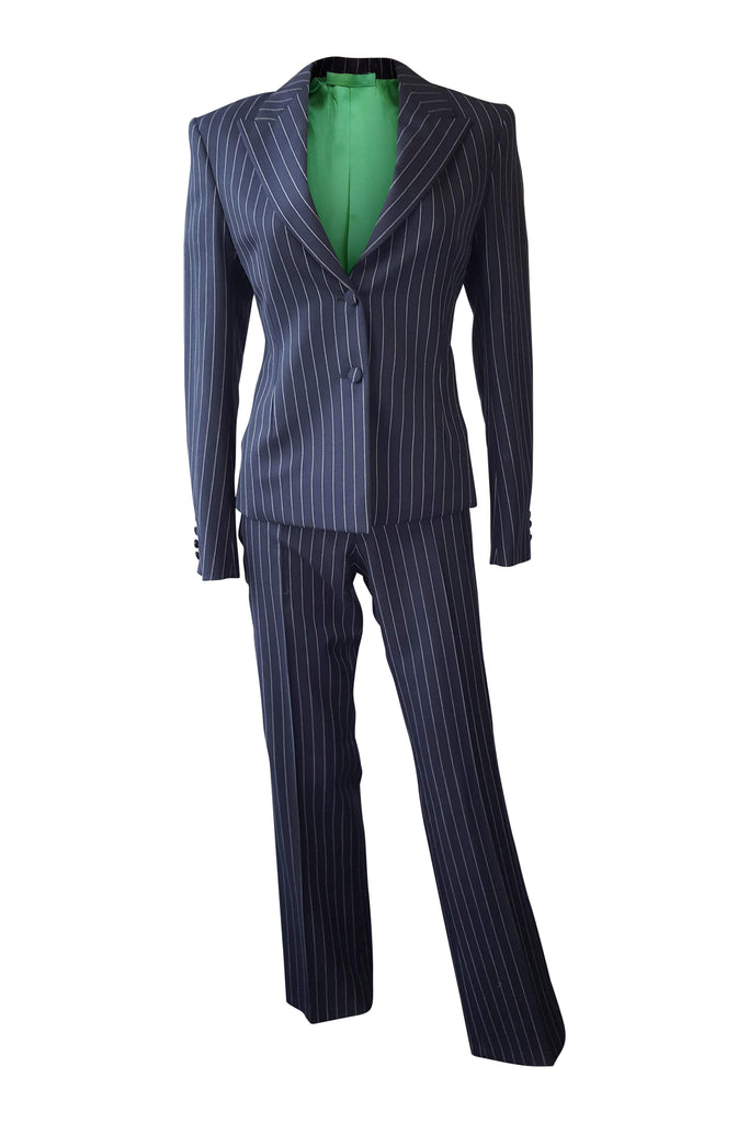LUTWYCHE Commissioned Women's Pinstripe Two Piece Trousers Suit (S)-Lutwyche-The Freperie