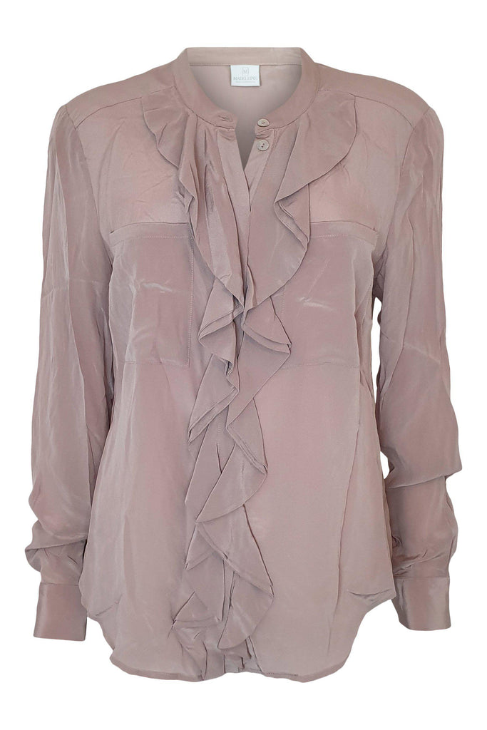 MADELEINE 100% Silk Dusty Rose Pink Ruffle Front Shirt (UK 14)-Madeleine-The Freperie