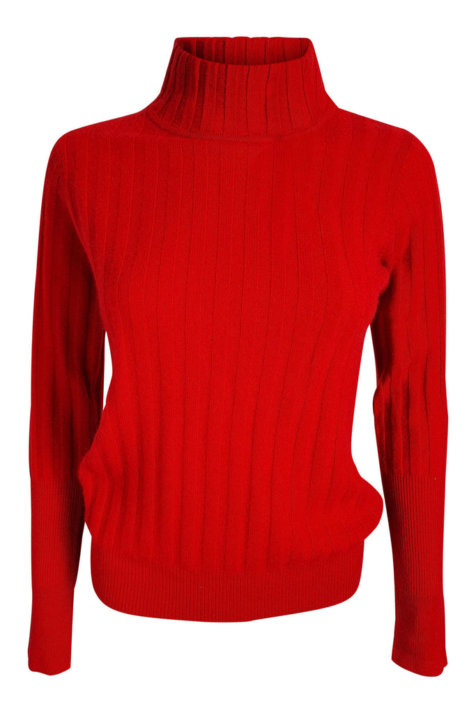 MADELEINE THOMPSON Meeko 100% Cashmere Red Polo Neck Jumper (L)-Madeleine Thompson-The Freperie