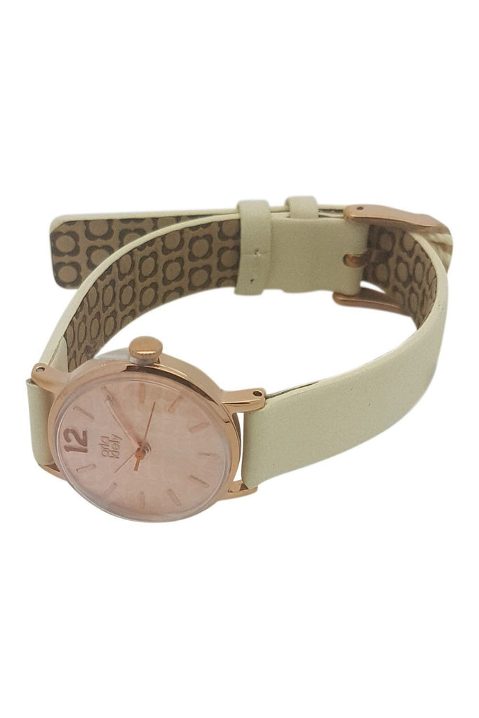 ORLA KIELY Frankie Cream Leather Watch-Orla Kiely-The Freperie