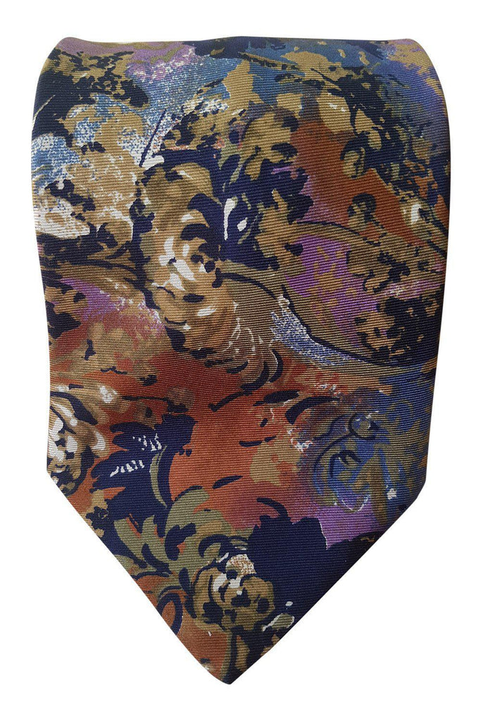 "PACO RABANNE Blue 100% Silk Floral Print Tie (62"")-Paco Rabbane-The Freperie"