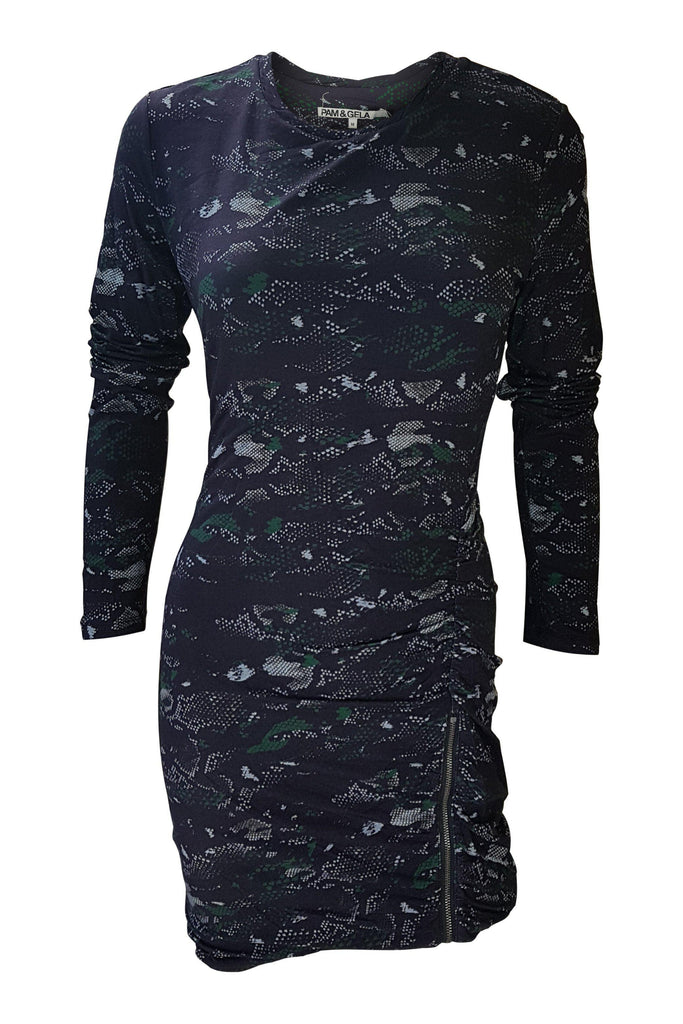 PAM & GELA Snake Camo Long Sleeved Bodycon Mini Dress (M)-Pam & Gela-The Freperie