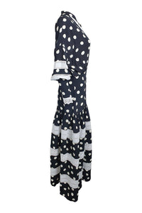 PAPER London Black Connect The Spot Hydrangea Maxi Dress (UK 08)-The Freperie