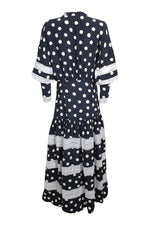 Load image into Gallery viewer, PAPER London Black Connect The Spot Hydrangea Maxi Dress (UK 08)-The Freperie