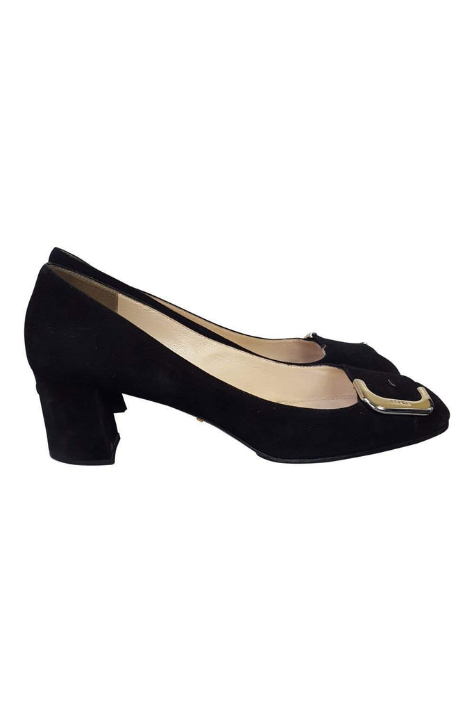 PRADA Black Suede Court Shoes (40)-Prada-The Freperie