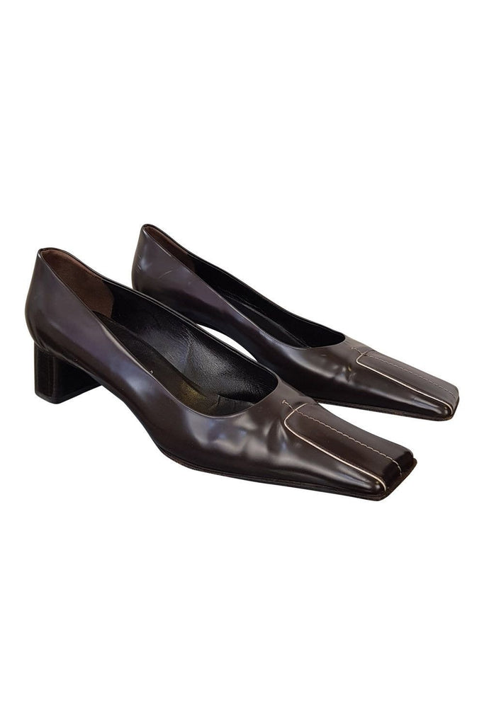 PRADA Brown Leather Kitten Heels (EU 40)-Prada-The Freperie