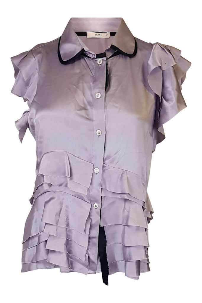 PRADA Lilac Silk Short Sleeve Top (IT 40)-Prada-The Freperie