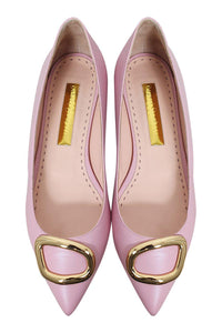 RUPERT SANDERSON Bedfa Calf Leather Hortensia Pink Pointed Toe Flats (40)-The Freperie