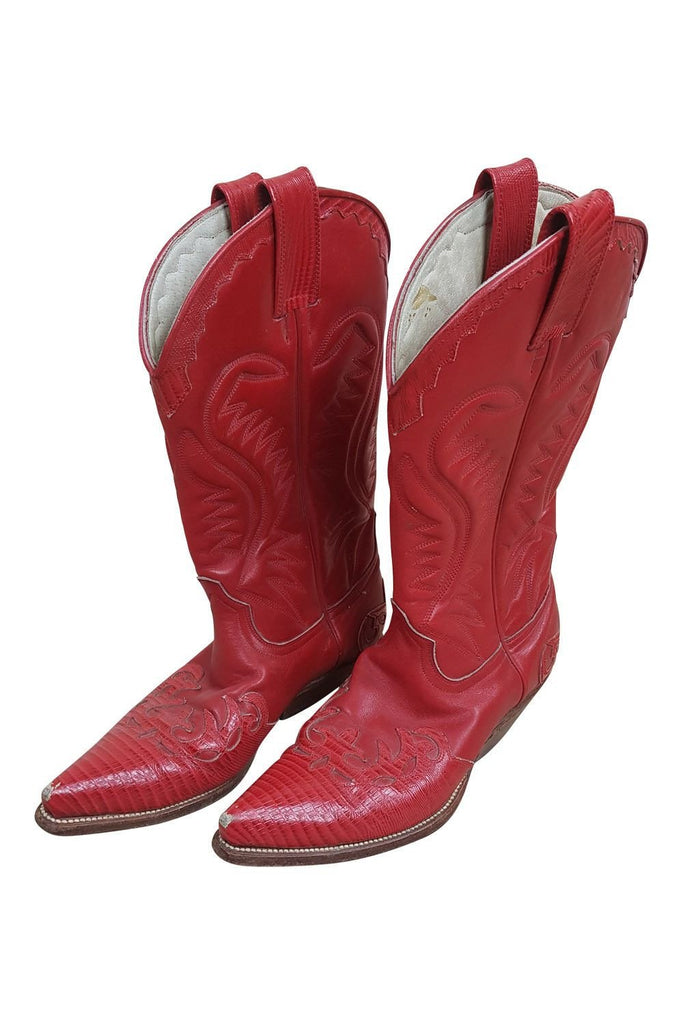 SANTANA Red Leather Cowboy Boots (40)-Santana-The Freperie