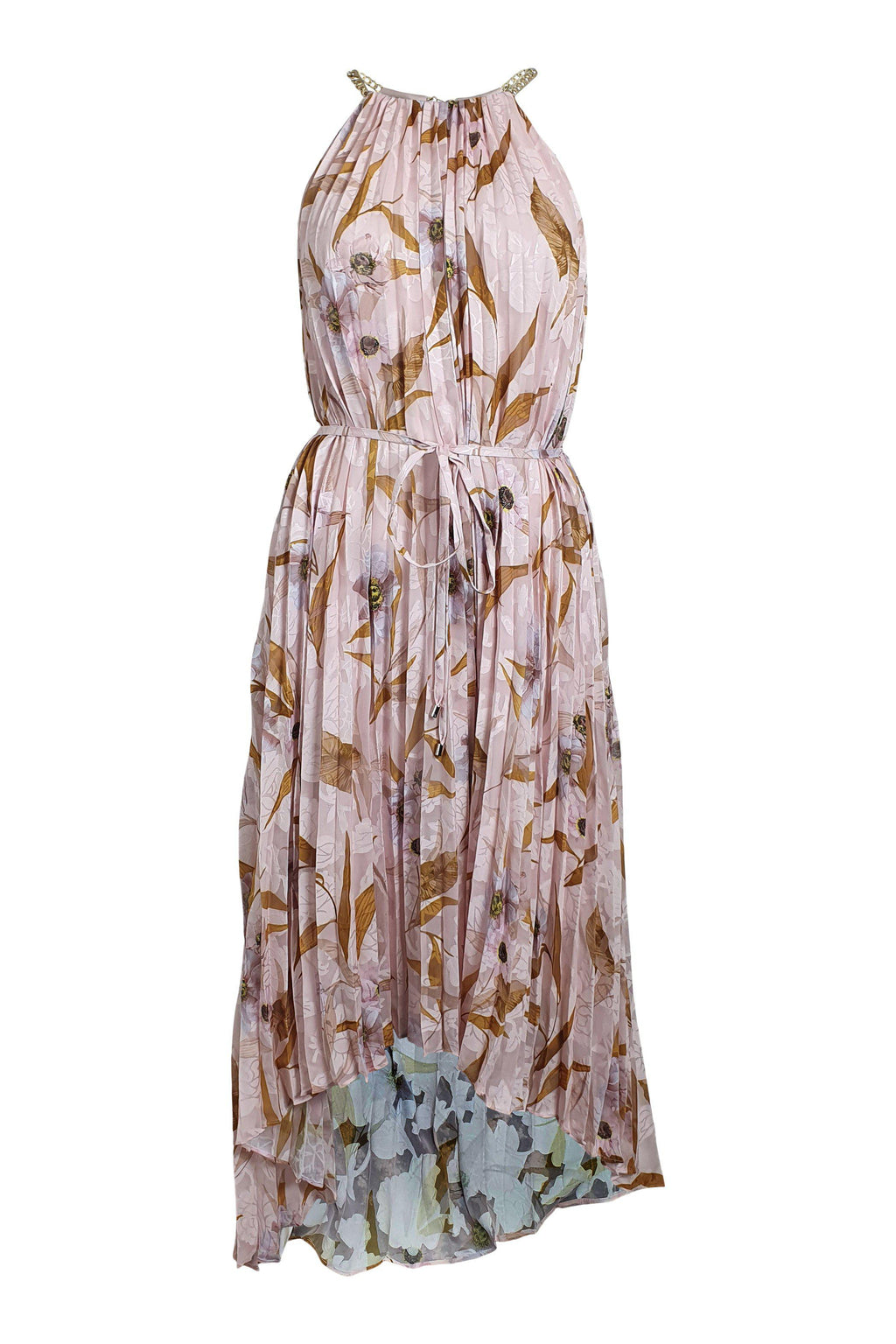 TED BAKER Light Pink Dixxie Cabana Sleeveless Pleated Maxi Dress (1 | UK 08)-The Freperie