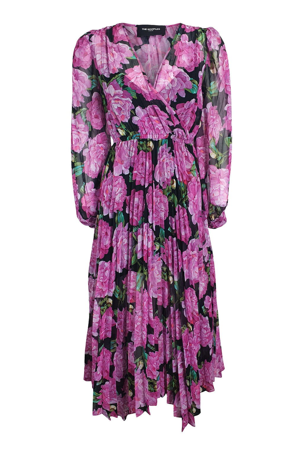 THE KOOPLES Pink Winter Peonies Midi Dress (2 | UK 12 | EU 38)-The Freperie