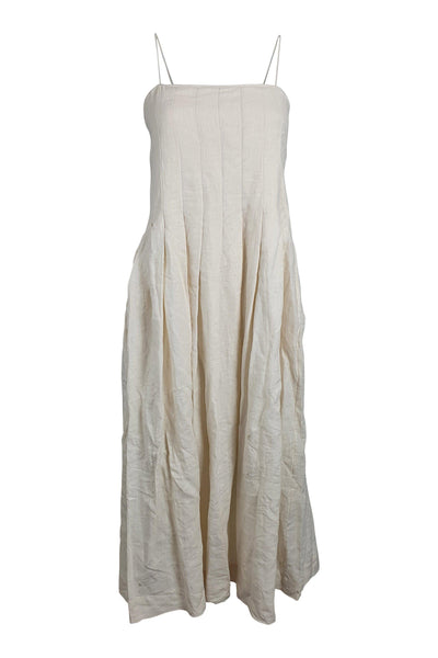 THREE GRACES London Lucia Beige Cotton Pleated Midi Dress (UK 6)-The Freperie