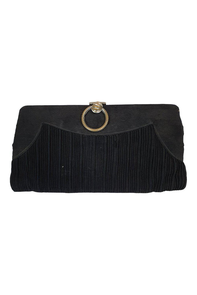 UNLABELLED VINTAGE 1950s 1960s black pleated purse (M)-Unlabelled-The Freperie
