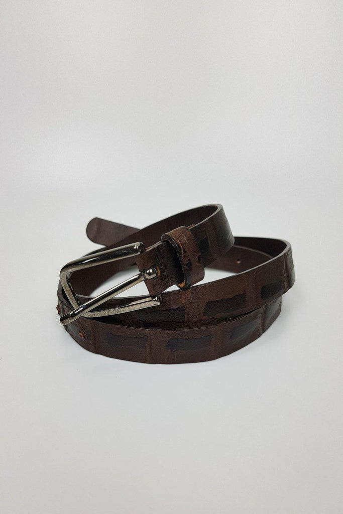 UNLABELLED Vintage brown leather textured belt with silver tone buckle-Unlabelled-The Freperie