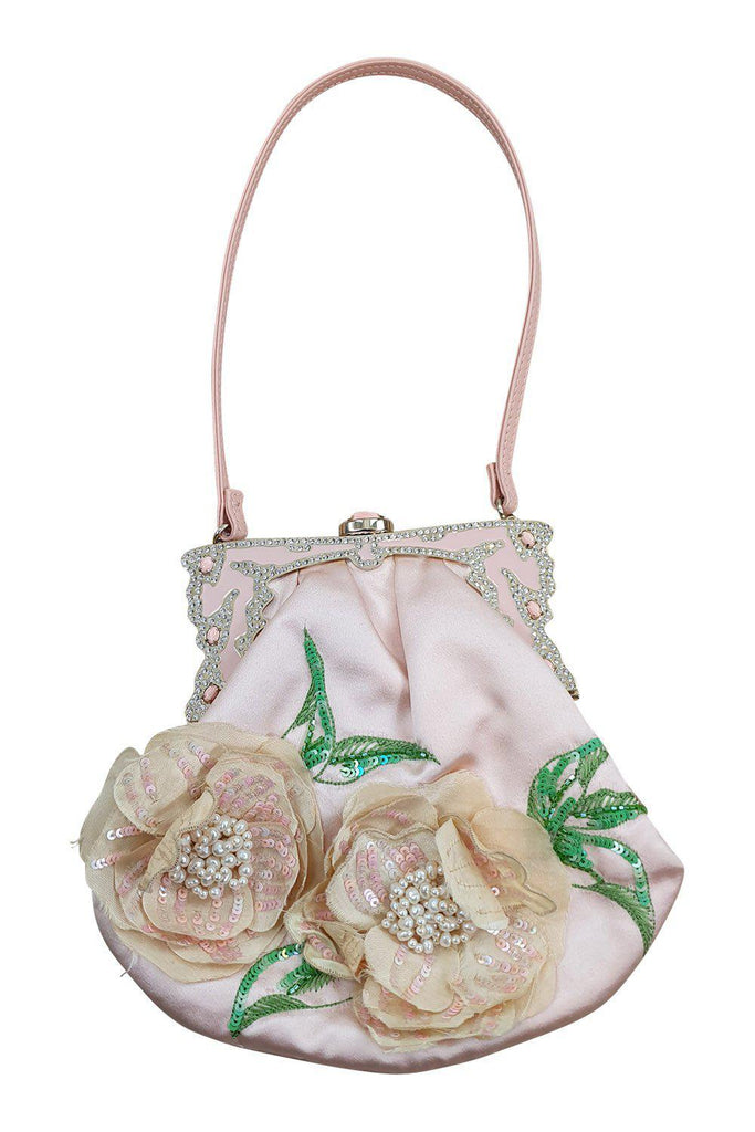 VALENTINO Baby Pink Silk Embroidered Flapper Style Evening Bag (S)-Valentino-The Freperie