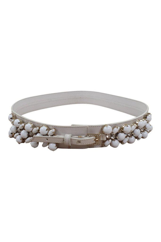 VALENTINO Garavani White Leather Embellished Belt (90 / 36)-Valentino-The Freperie