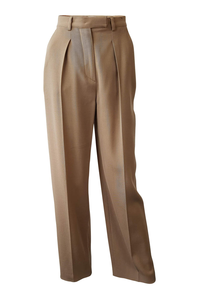 VALENTINO Tan Brown Wool Blend Tailored Trousers (IT 38/4)-Valentino-The Freperie