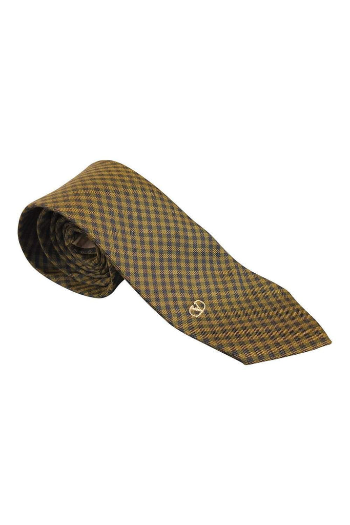 VALENTINO Vintage Silk Checked Yellow Blue Tie-Valentino-The Freperie