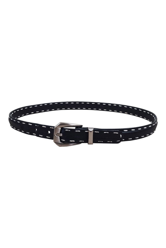 "VERSACE Black Leather Belt (34"")-Versace-The Freperie"
