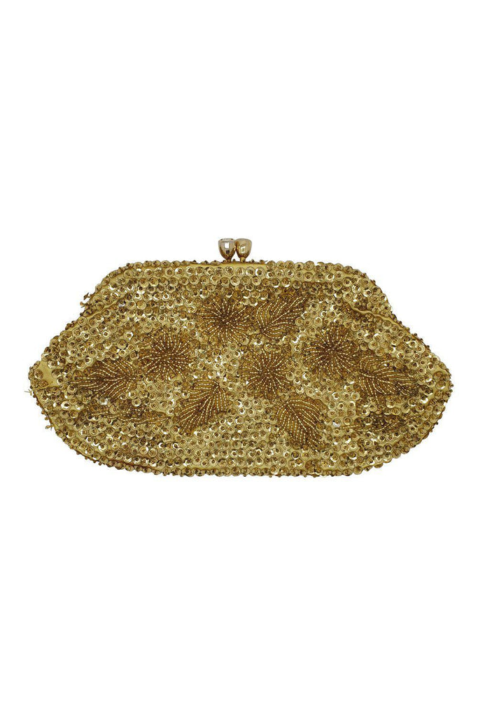 Vintage 1940s 1950s Hand Made Beaded Flapper Style Gold Sequin Purse (S)-The Freperie-The Freperie