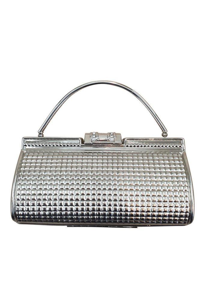 VINTAGE 1970S 1980s Women's Silver Hard Case Evening Bag (S)-The Freperie-The Freperie