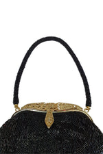 Load image into Gallery viewer, VINTAGE 1980s 1990s Flapper Style Black Beaded Satin Lined Evening Purse (S)-Unbranded-The Freperie