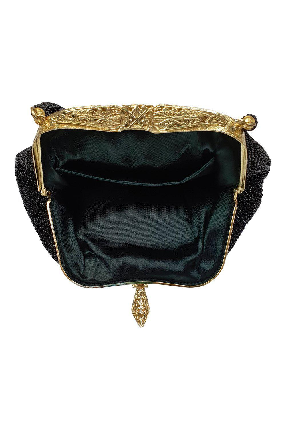 VINTAGE 1980s 1990s Flapper Style Black Beaded Satin Lined Evening Purse (S)-Unbranded-The Freperie